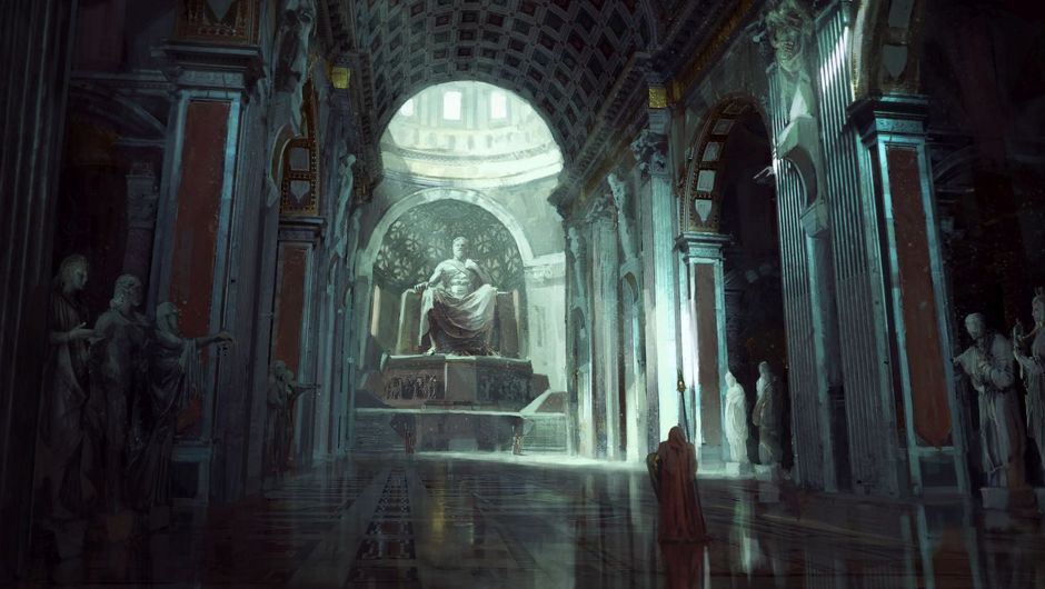 Path of Exile promotional artwork of statue on throne with robed figure in front