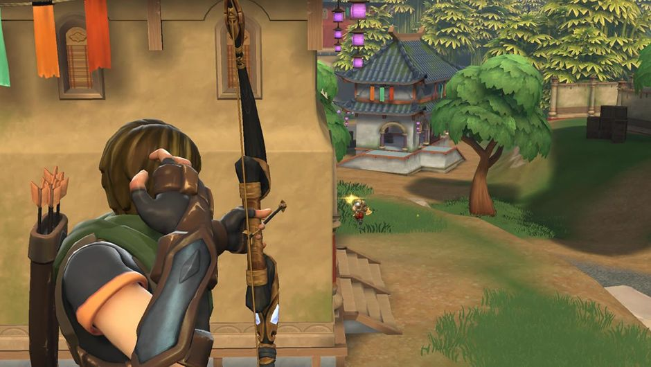 A woman in medieval cladding shooting an arrow in Realm Royale