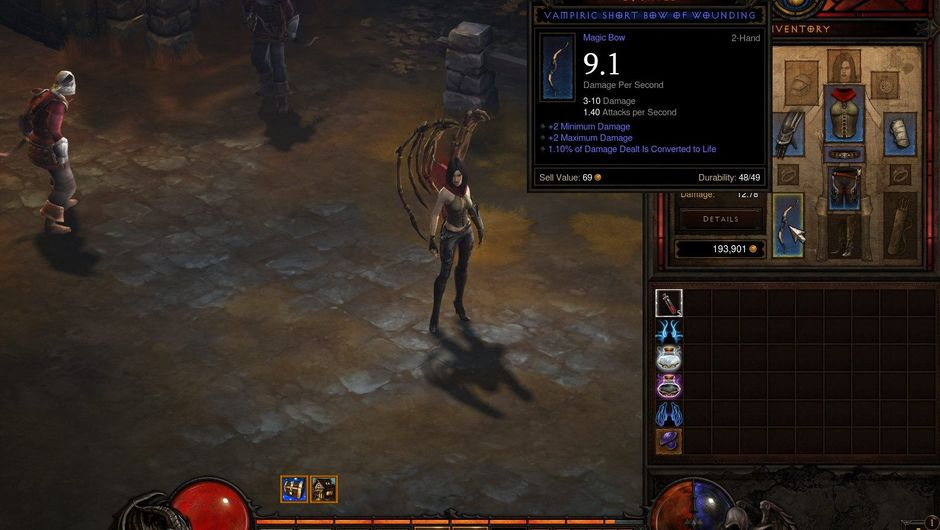 Picture of a player's character with inventory screen in Diablo 3