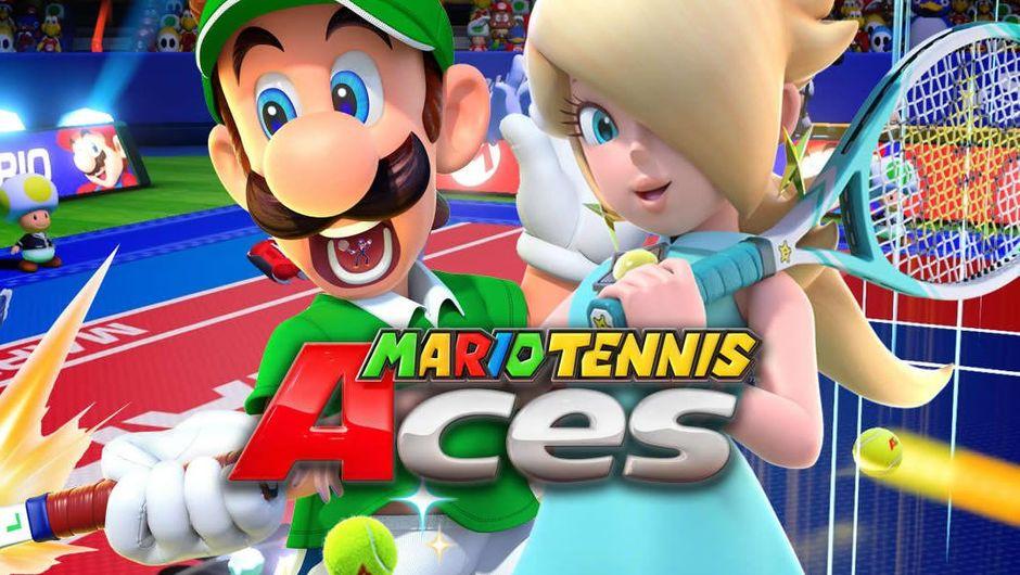 Luigi and Peach holding tennis rackets in Mario Tennis Aces