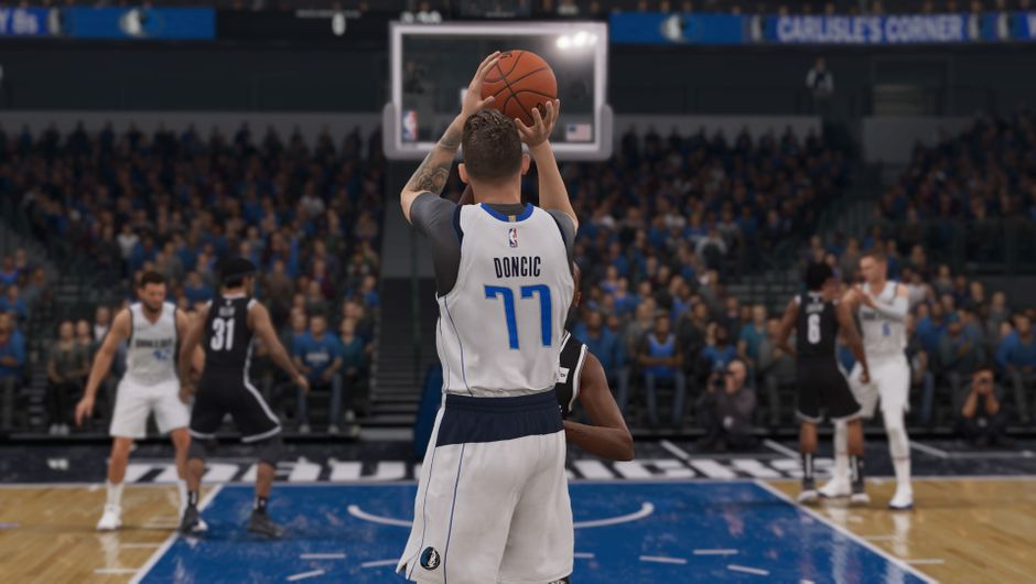 Luka Doncic shooting a three-point shot in NBA Live 19