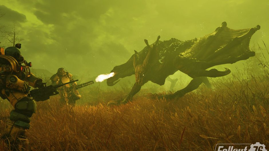 Picture of some dudes in power armour fighting a giant monster