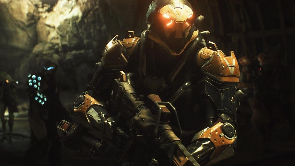 A soldier in Javelin, exosuits from BioWare's game Anthem