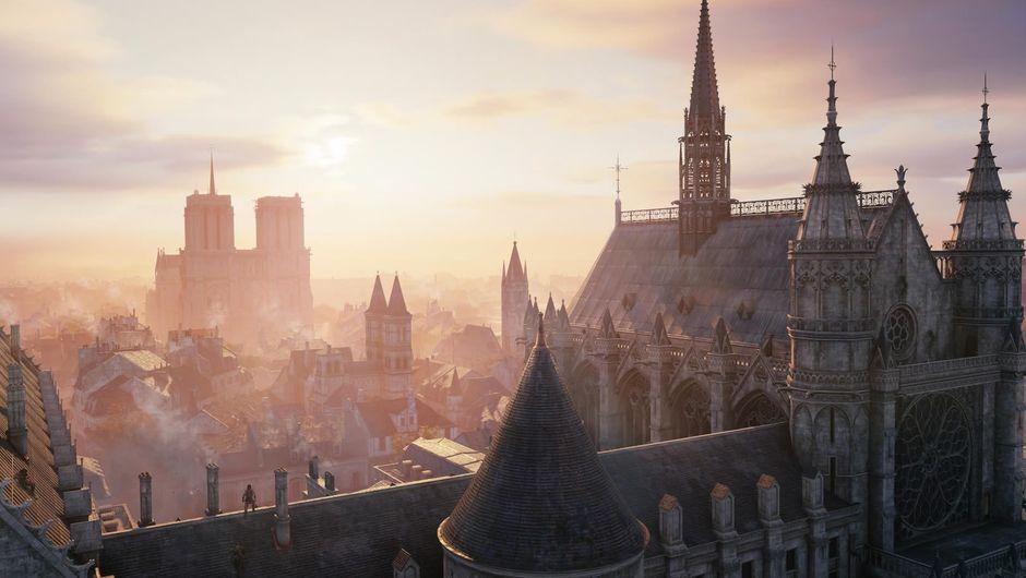Assassin's Creed: Unity, screenshot of a Parisian sunset
