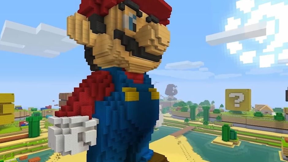 A huge Mario statue build in Minecraft, complete with his red and blue plumber suit.