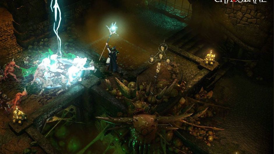 Thunder and lightning are striking inside a closed off building in Warhammer Chaosborn