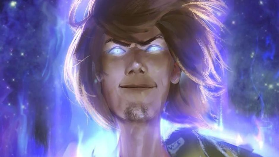 A painting of a supernatural version of Shaggy from Scooby Doo