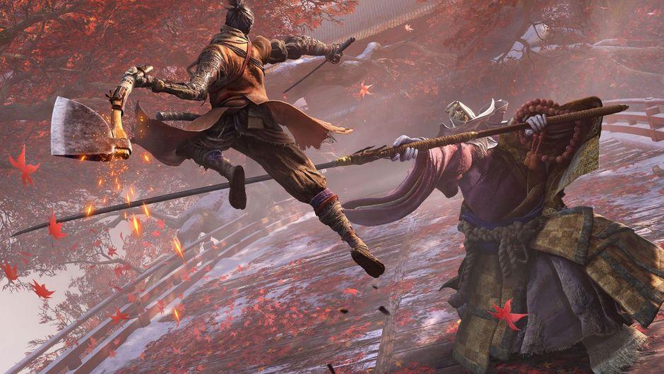 A samurai attacking a monster in Sekiro: Shadows Die Twice