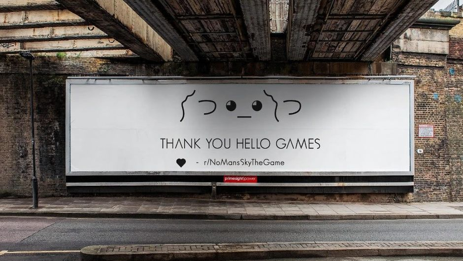 A billboard saying Thank You Hello Games