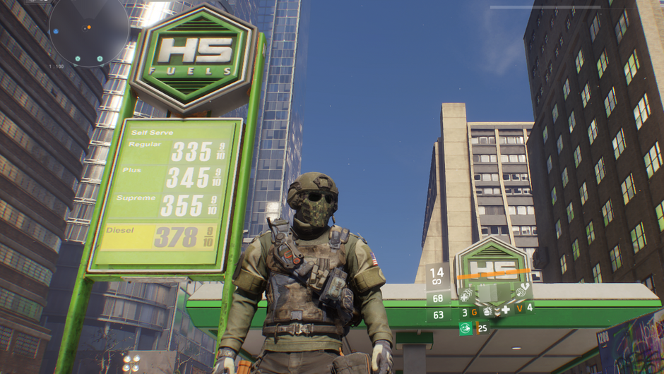 The Division screenshot showing an armored SHD agent next to a gas station with its gas prices listed on the side.