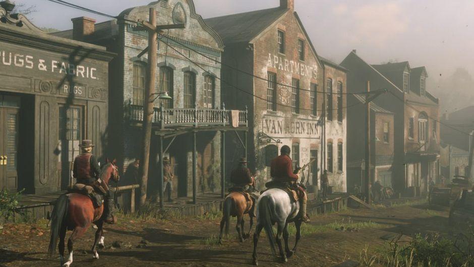 three characters riding horses