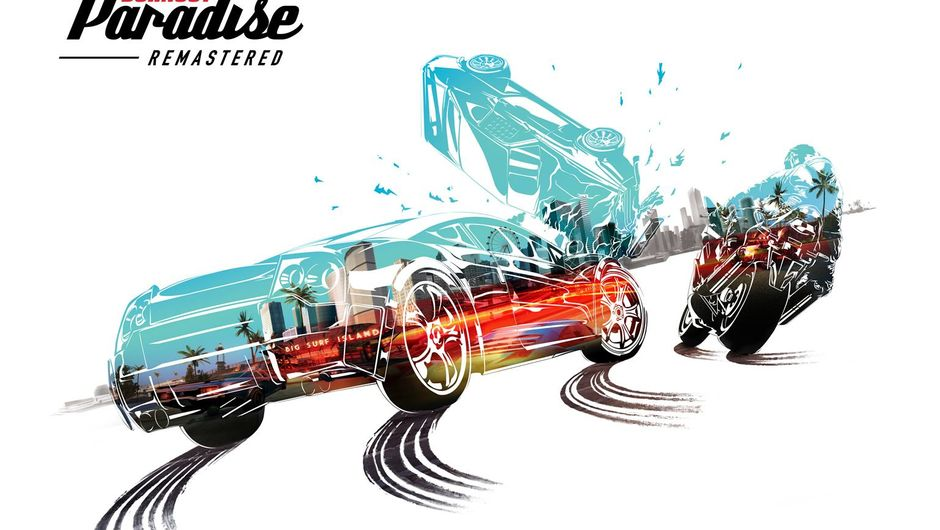 A poster for Burnout Paradise Remaster depicting cars and bikes