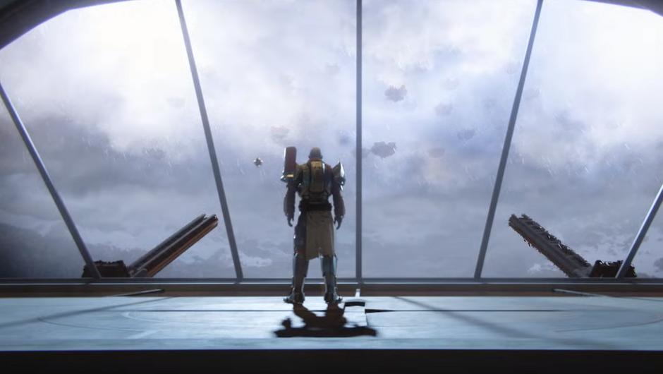 Commander Zavala looking out a big window.