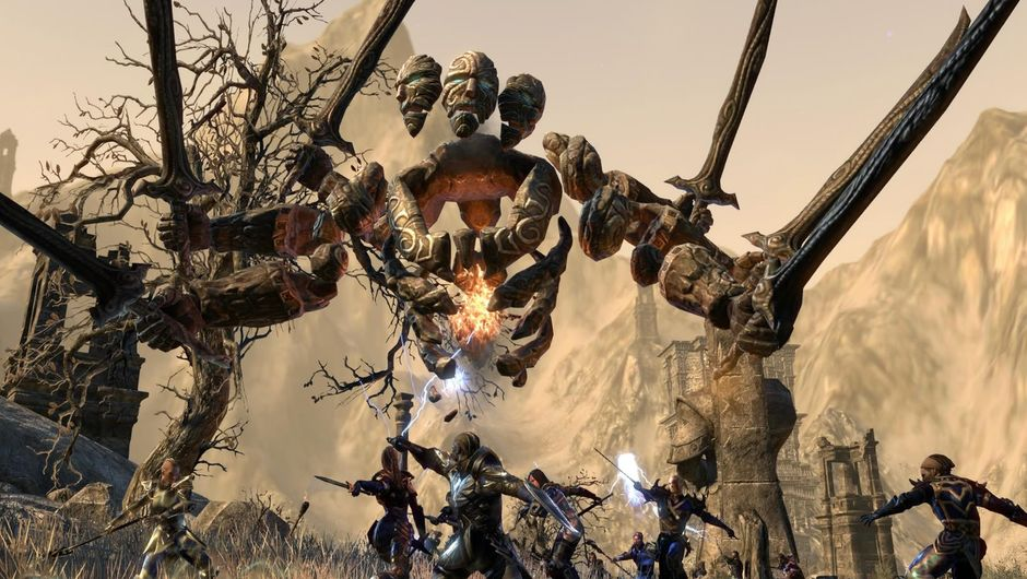 The Elder Scrolls Online players fighting a monster