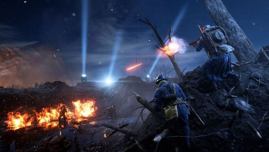 Two soldiers shooting across the trenches in Battlefield 1's Nivelle Nights map