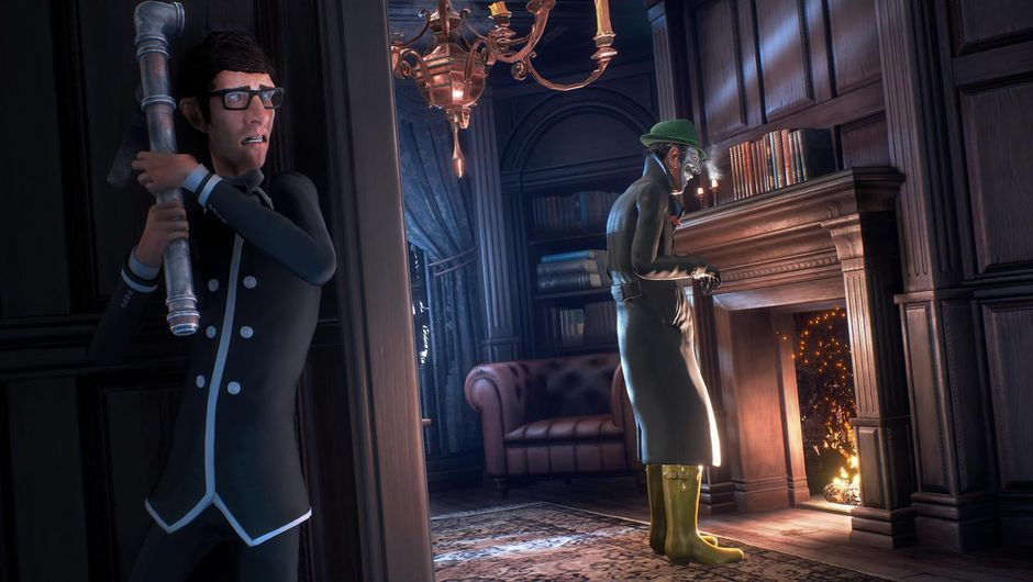 A man with a pipe visibly frightened of an imposter in We Happy Few
