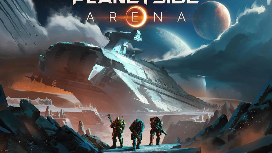 Key art for Planetside: Arena showing three men in the distance