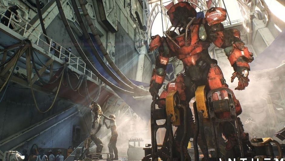 Screenshot from anthem showing a Javelin in a workshop of sorts