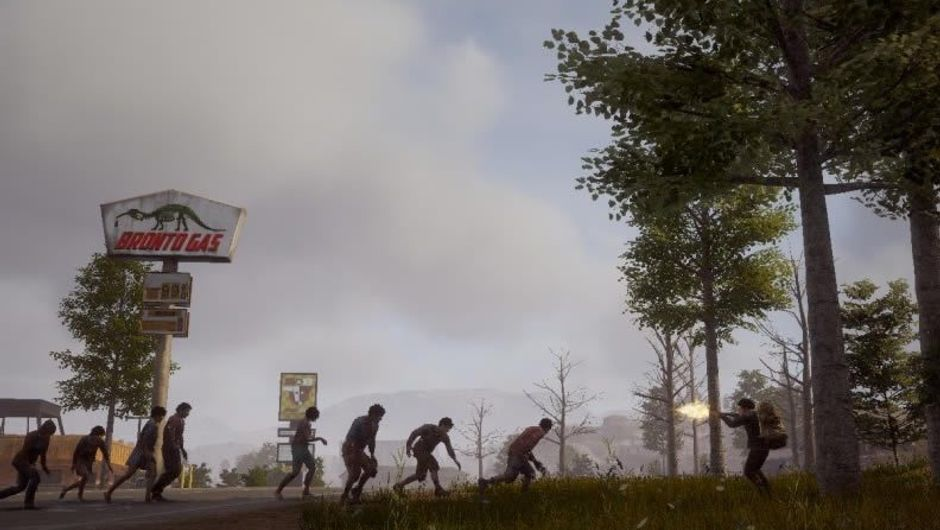 A man shooting a line of zombies in State of Decay 2
