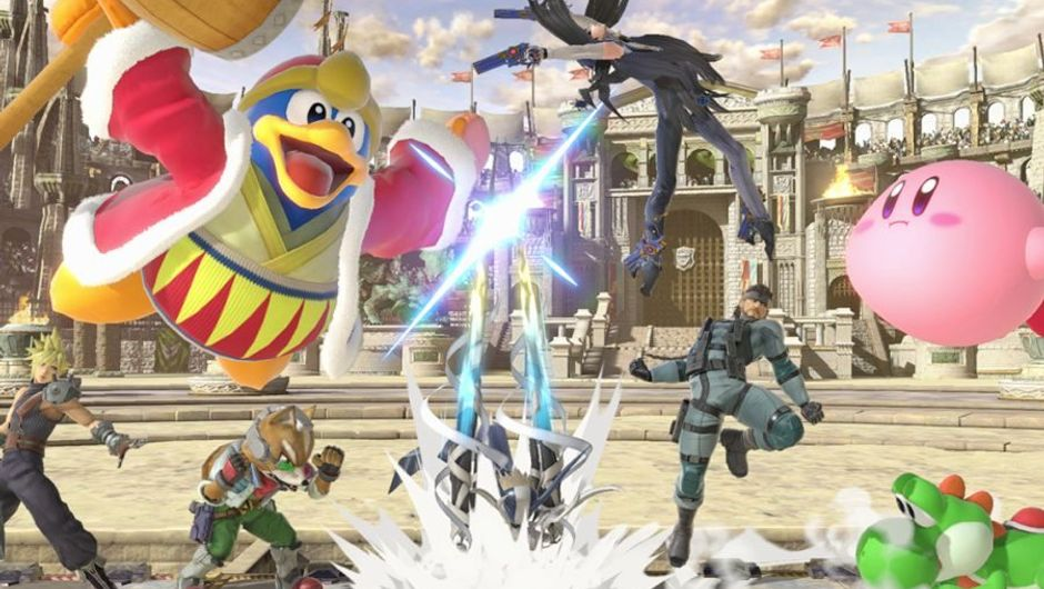 Super Smash Bros. characters parading in stadium for comedic effect