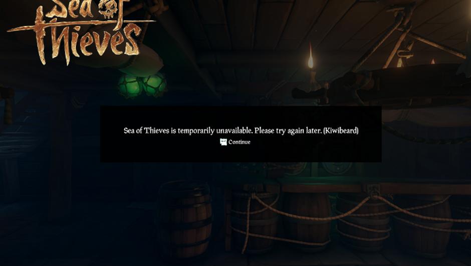 Sea of Thieves screen showing a Kiwibeard error.