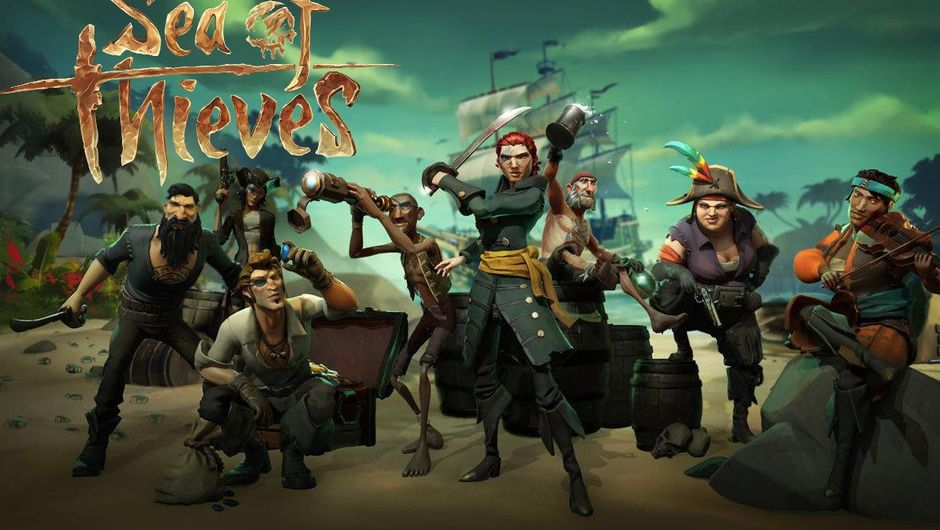 A bunch of pirates posing on a beach for a picture in Sea of Thieves.