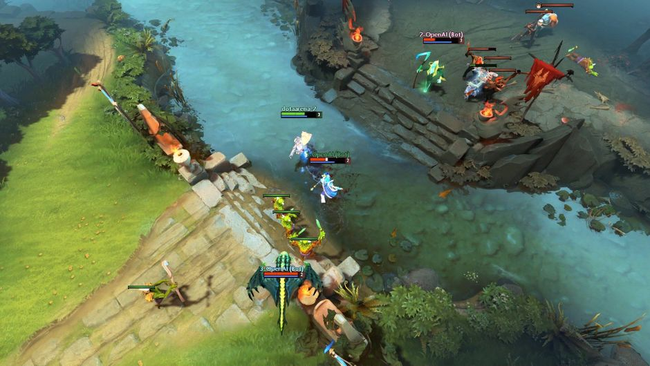 Preview of OpenAI bots in a game of Dota 2