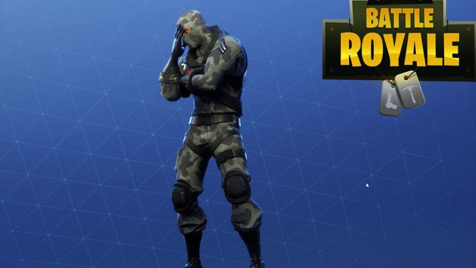 Fortnite character is facepalming at the failure of the game's community
