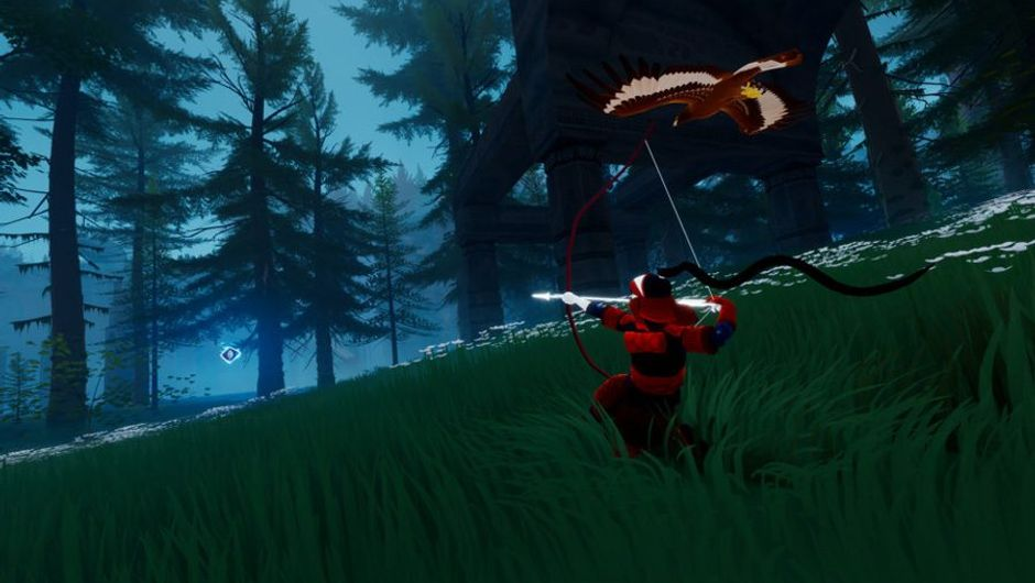 A man with an axe running through a forest in SCUM