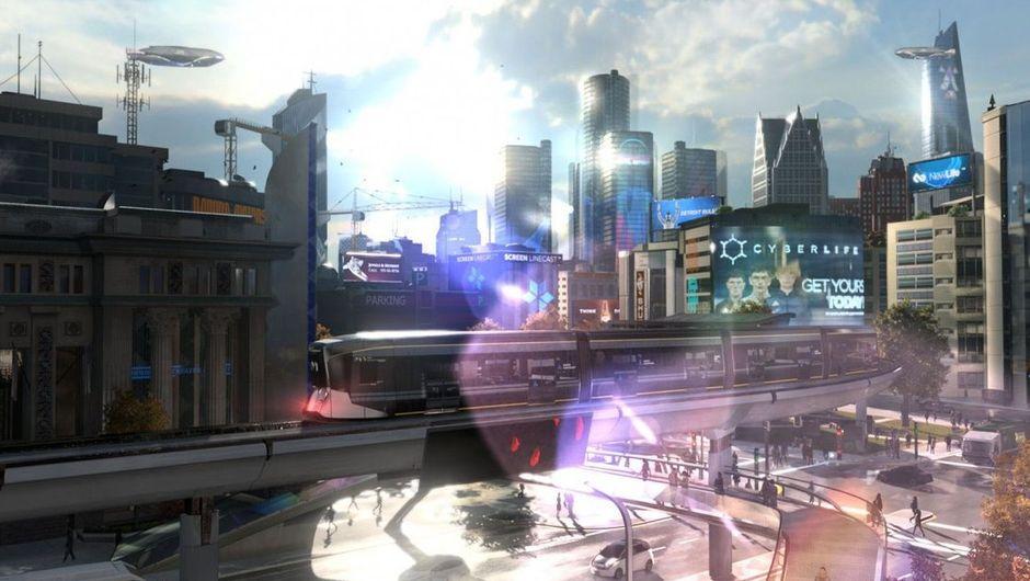 A view of a futuristic city through a glass pane window