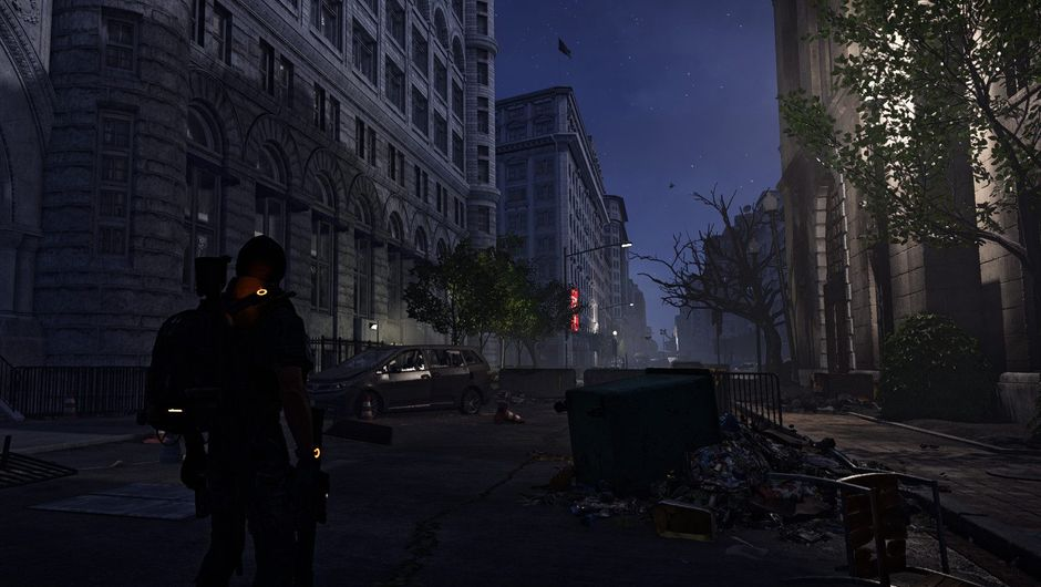 Picture of an SHD agent walking in the street at night