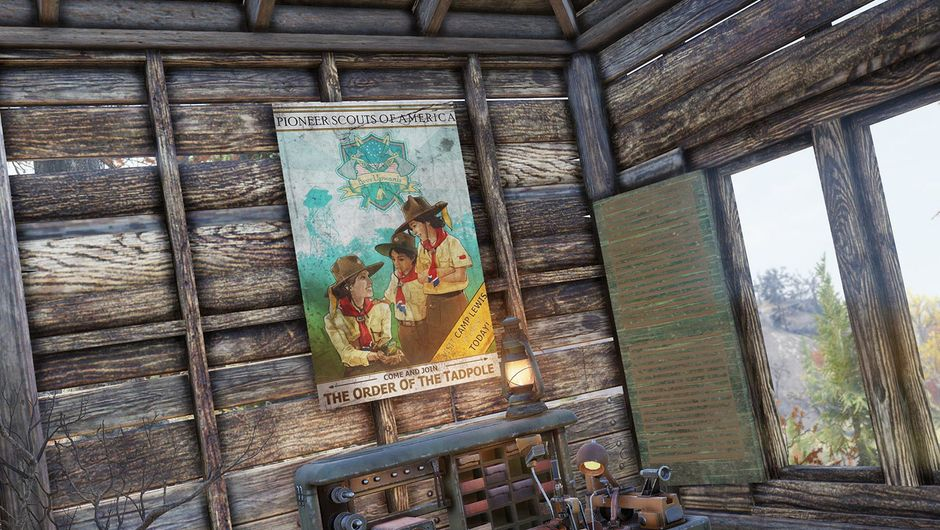 fallout 76 screenshot showing a photo on a wall of wooden shack