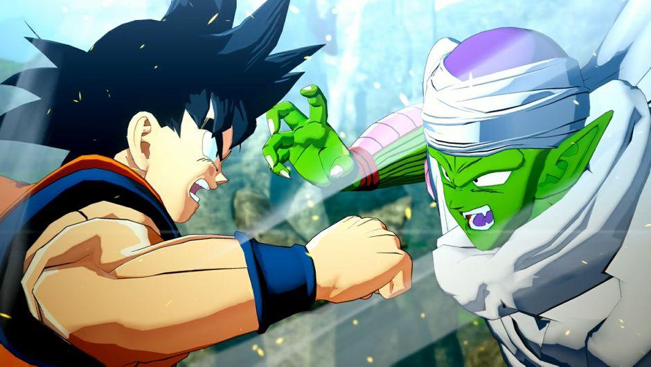 Goku mid swing in Dragon Ball Z: Kakarot.