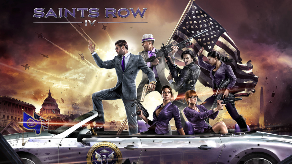 Saints Row IV characters riding in a purple car