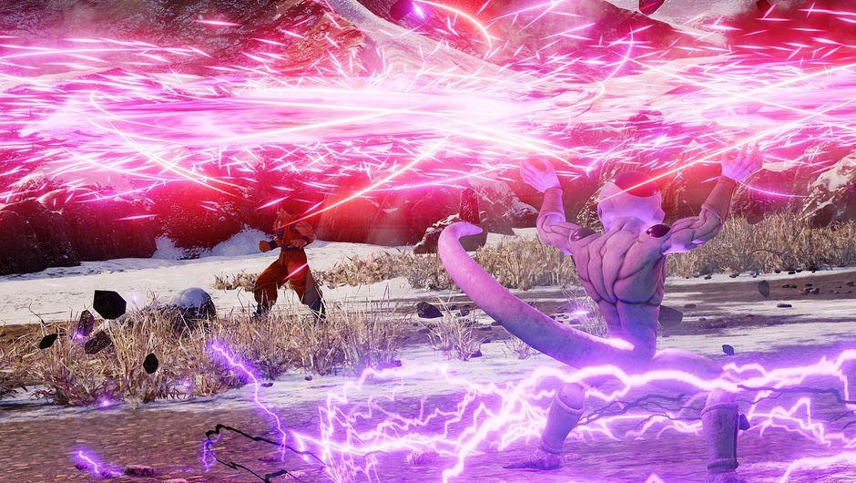 Jump Force promotional image of Goku fighting a bipedal lightning spewing white fridge