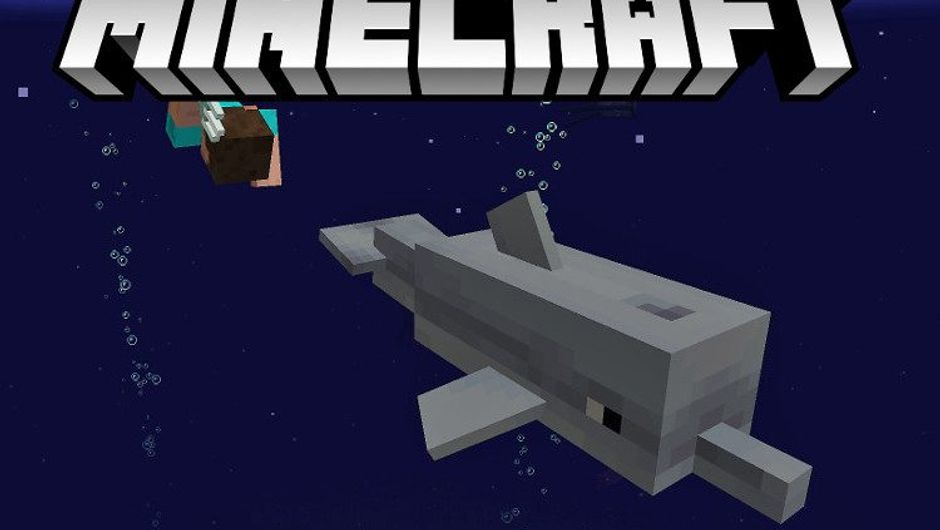 Blocky human and a shark are swimming through blocky water in Minecraft