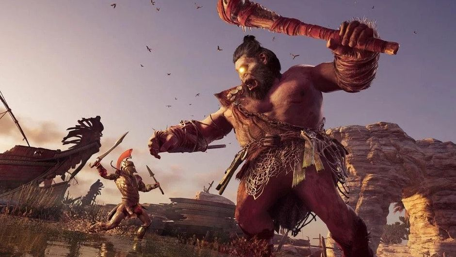 picture showing spartan fighting a giant cyclops