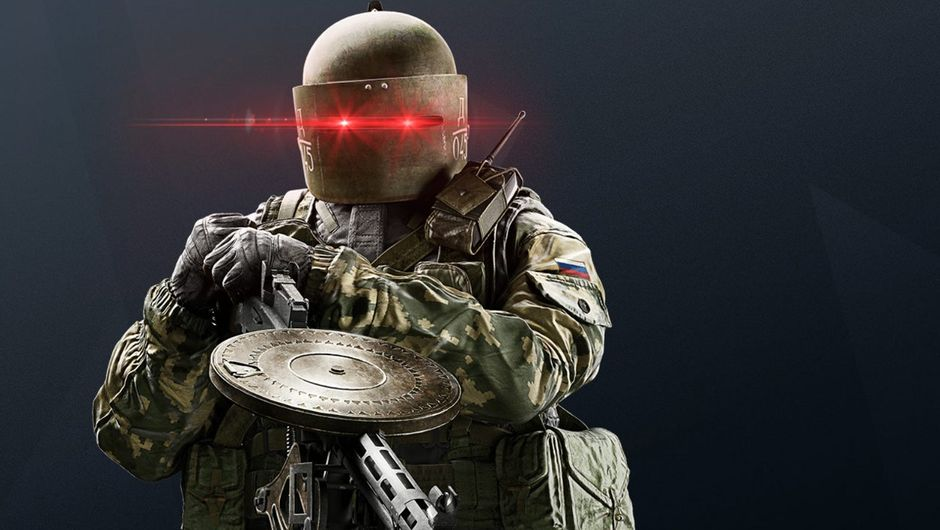artwork showing tachanka from r6 siege with red glowing eyes
