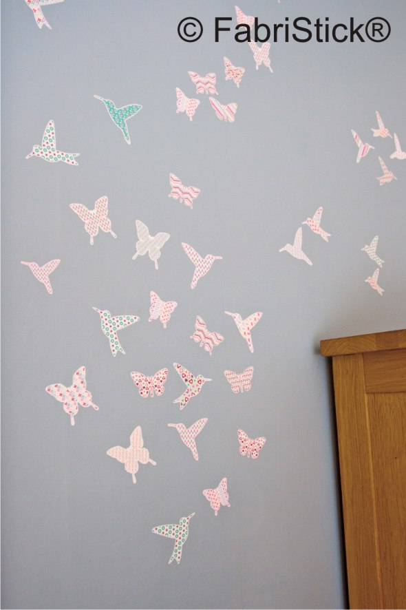 Hummingbird and butterfly wall stickers