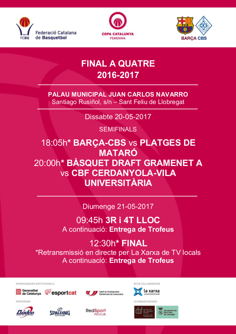 La Final a Quatre de la Copa Catalunya Femenina arriba aquest 20 i 21 de maig a Sant Feliu de Llobregat, Capitalitat del Bàsquet Femení 2017