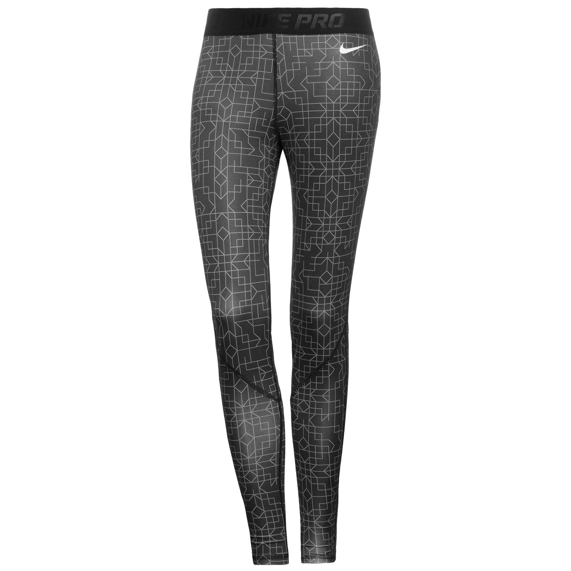 Nike Pro Hyperwarm II Print Tights Grå/Vit Dam
