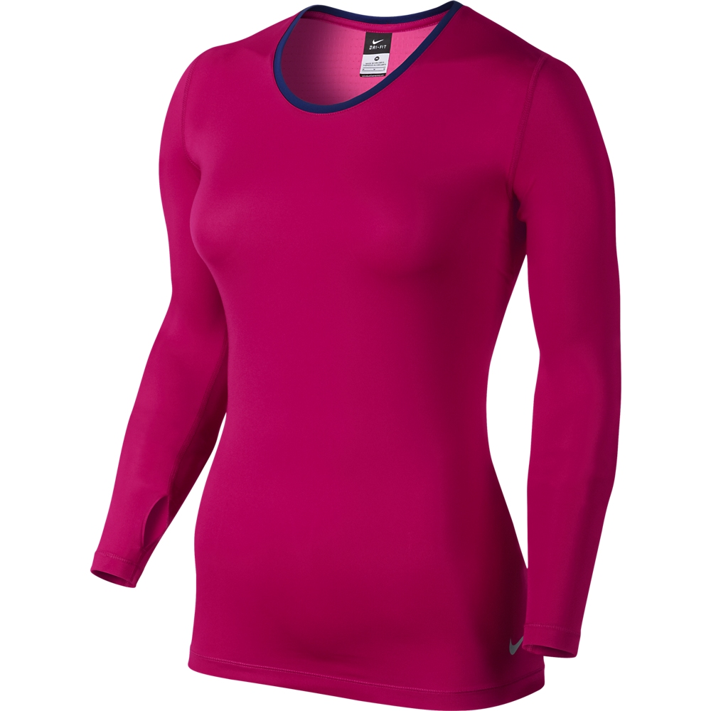 Nike Pro T-Shirt Hypercool L/Ä Rosa/Lila Dam