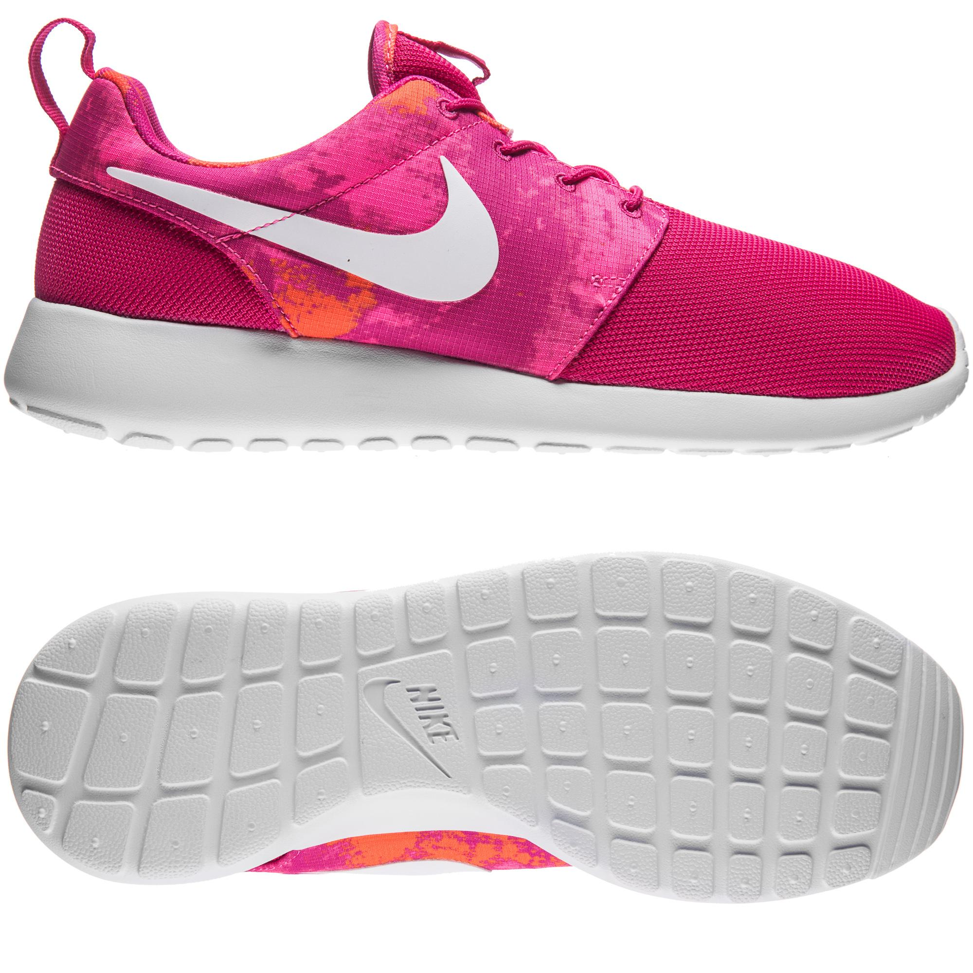 Nike Roshe One Print Rosa/Vit/Orange Dam