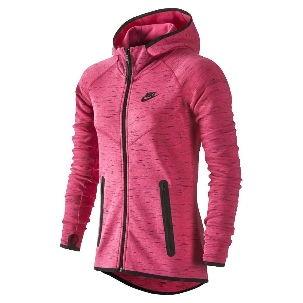 Nike Luvtröja Tech Fleece FZ Rosa/Svart Dam