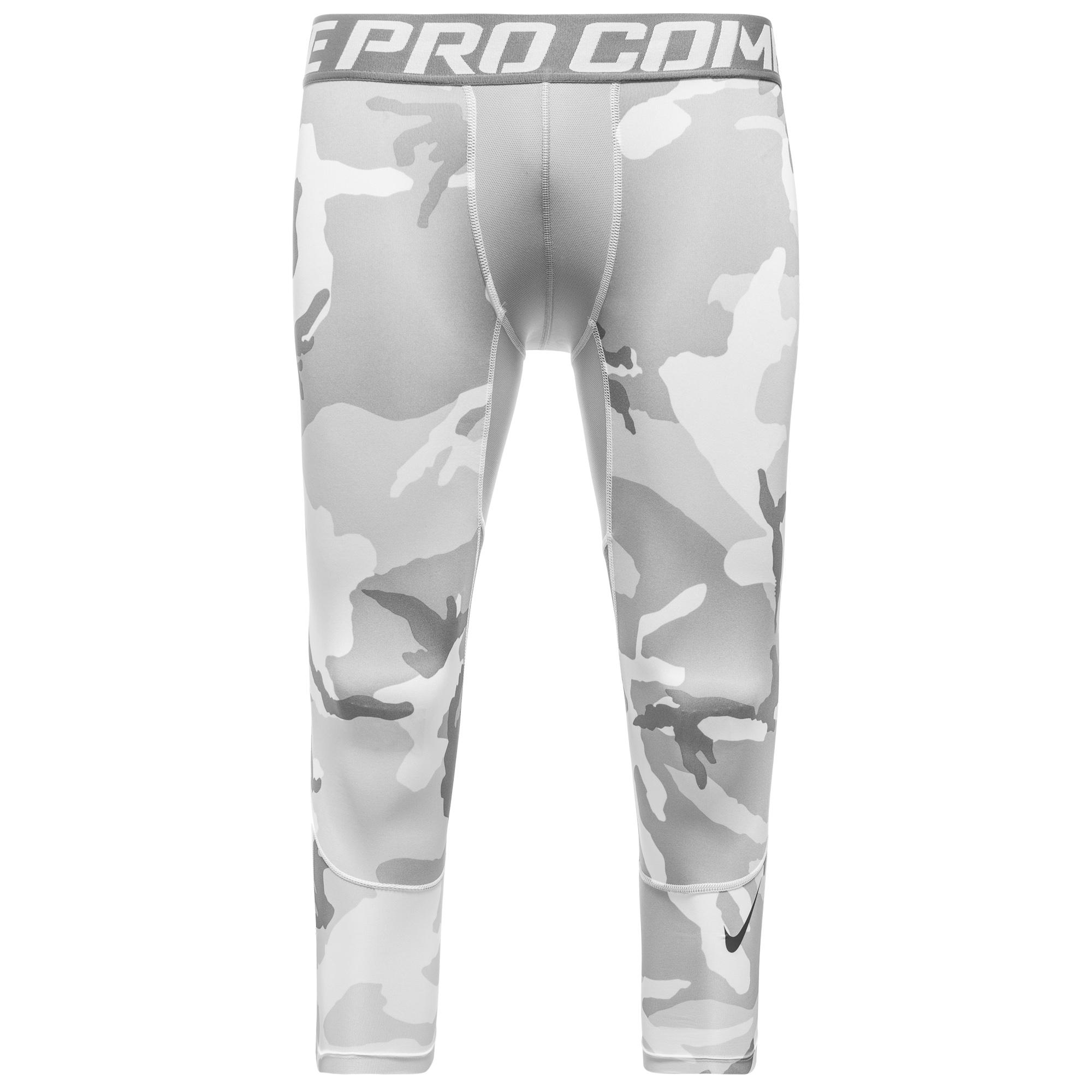 Nike Pro Combat Hypercool Woodland Tights 3/4 Vit/Grå