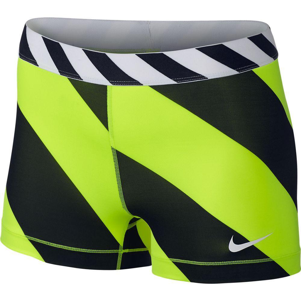 Nike Shorts Pro Diagonal Stripe 7.5 cm Neon/Svart Dam