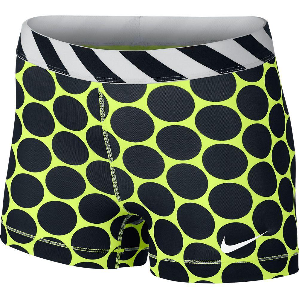 Nike Shorts Pro Big Dot 7.5 cm Neon/Svart Dam