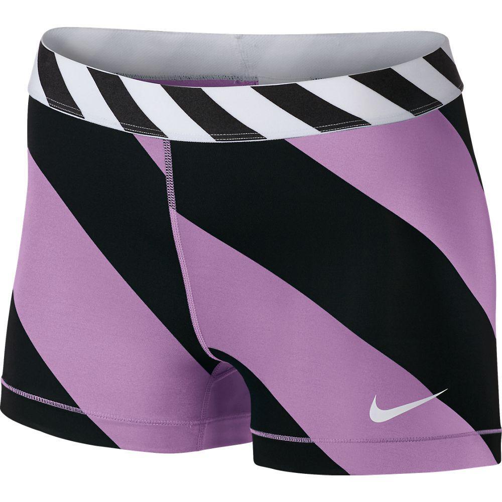 Nike Shorts Pro Diagonal Stripe 7.5 cm Lila/Svart Dam