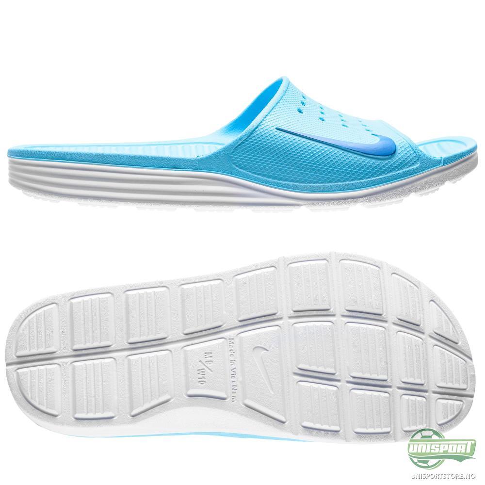 3cbda4301c5b Nike – Badesandal Solarsoft Slide Blå Hvit Dame