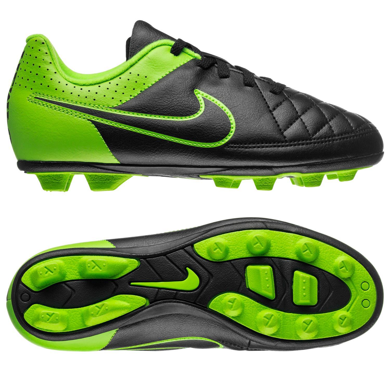 Nike Tiempo Rio II FG Svart/Grön Barn